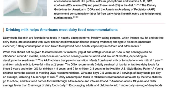 Science Summary: Milk and Your Health